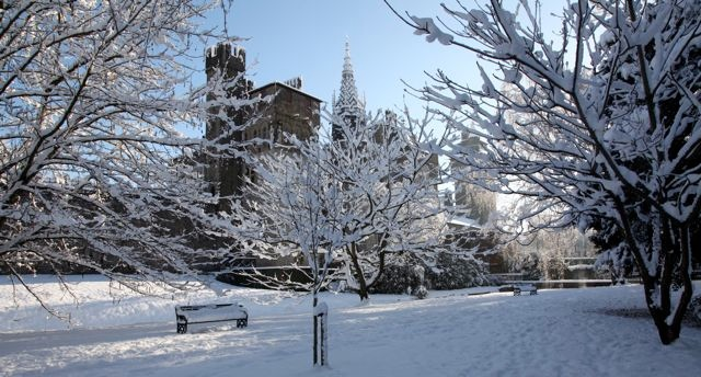 Cardiff Castle in the snow