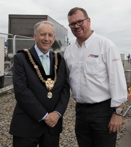 Cardiff Lord Mayor and Robert Wicks P1 Chief Operating Officer Cardiff Bay 2015