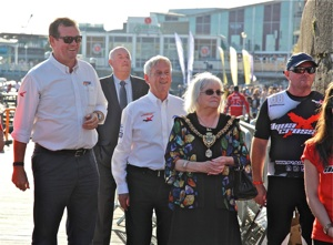 Lady Lord Mayor Cardiff with Robert Wicks and Roy Mantle P1 Superstock racing Aug 2016 Cardiff Bay